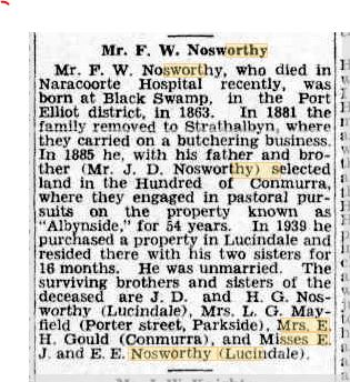 FW Nosworthy death notice